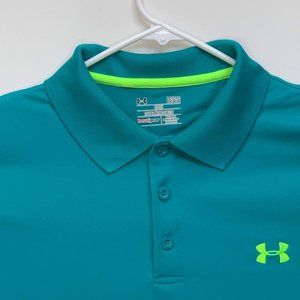 Under Armour Mens Designer Teal Polo Large